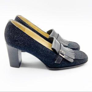 Vintage Celine Paris Leather Wool Heels Black Logo